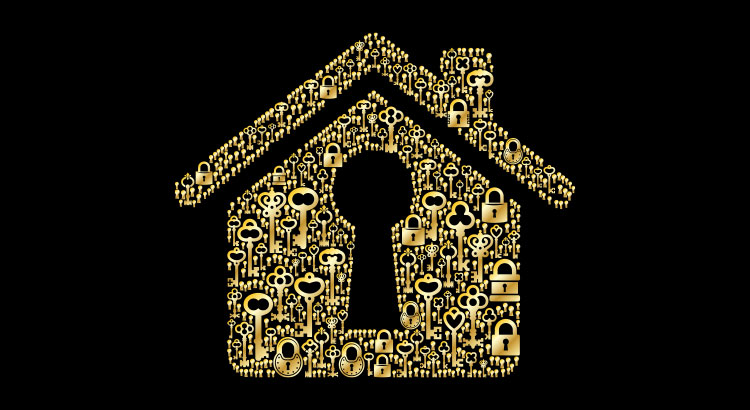 A Golden Home Made Of Keys Illustrating The Tax Refund.