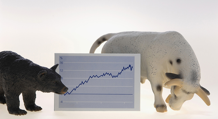 A Bear And Bull Next To A Stock Market Illustration.