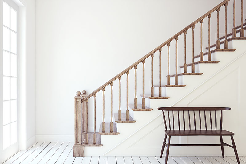 A classic staircase in a home purchased with a jumbo loan.