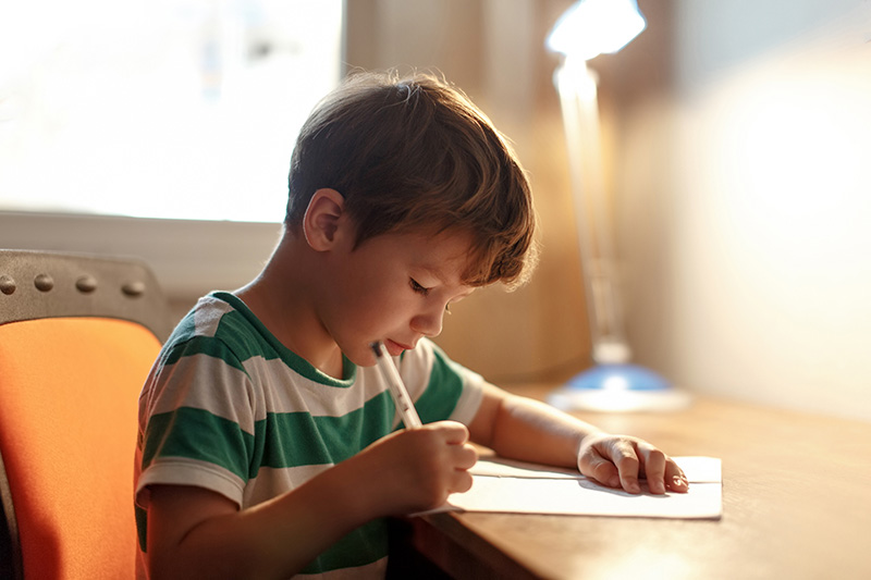 Child At A Desk Writing